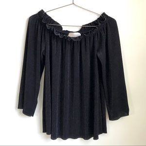 J.O.A Ruffled Loose Black Blouse